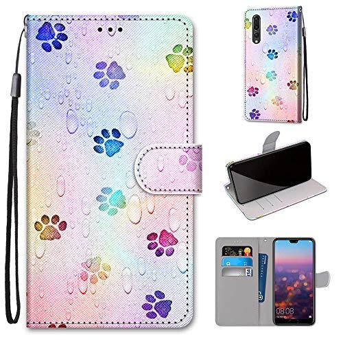 Miagon Flip PU Leder Schutzhülle für Huawei P20 Pro,Bunt Muster Hülle Brieftasche Case Cover Ständer mit Kartenfächer Trageschlaufe,Fußabdruck