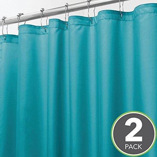 mDesign 2er-Set Duschvorhang aus Polyester – stilvoller Badewannenvorhang fürs Badezimmer – 137,2 cm x 198,1 cm – wasserabweisender Duschvorhang Anti-Schimmel für Dusche oder Badewanne – türkis