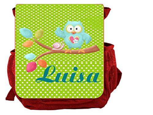 wolga-kreativ Rucksack Mädchen Eule Kinderrucksack Kindergartenrucksack mit Name Eule