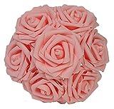 Flores artificiales Houda, 20 unidades, rosas artificiales reales al tacto para ramos de boda, centros de mesa, fiestas de bienvenida al bebé, decoraciones, bricolaje