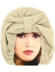 Promobo - Charlotte de Bain Luxe en tissu absorbant Bonnet Microfibre Taupe
