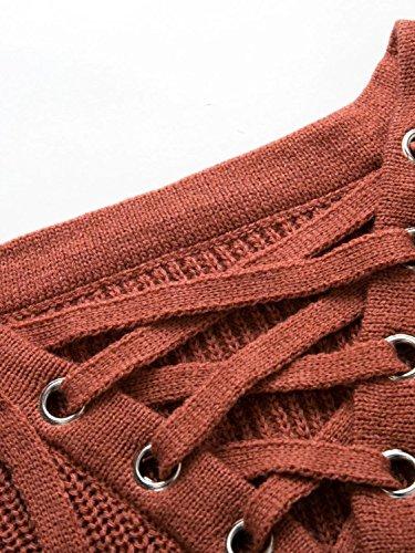 Maglia Donna Elegante Manica Lunga Invernali Maglieria Particolari V Scollo Con Lacci Maglioni Classica Casuale Sciolto Maglione Puro Colore Moda Strappy Rosso