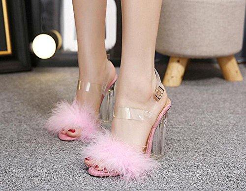 GLTER Donne Pumps Open Toe Temperamento peluche di cristallo Tacchi alti sandali slingback Pumps Nero Beige Rosa Pink