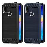 VGUARD [2 Unidades] Funda para Xiaomi Redmi 7 / Xiaomi Redmi Y3 / Xiaomi Redmi S3, Diseño de Fibra de Carbon Ultra Fina TPU Silicona Carcasa Fundas Protectora con Shock- Absorción (Negro+Azul)