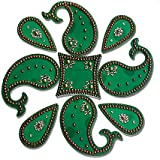 SBD Designer Instant PlasticGreen Rangoli(Dolphin And Tear Drop Design) Decorated With Stones And Beads For Festive Season 9 Pieces Set