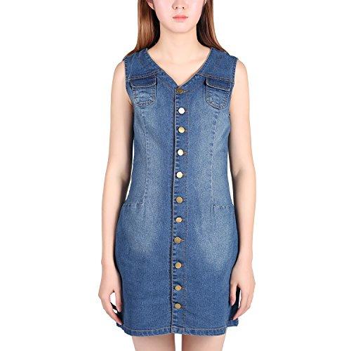 West See Damen Minikleid Jeanskleid V-Ausschnitt Ohne Arm Denim Bodycon Button-down Freizeit (EU 406(Tag XL), Blau) (Denim-kleid Button-down)