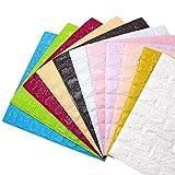 Godagoda 3D Ziegel Tapete Wandaufkleber Selbstklebend Stereo Wandtattoo Papier für Schlafzimmer Kinderzimmer TV Hintergrund 60x30cm Lila