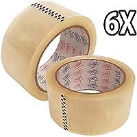 TAHA 6rollos de cinta de embalaje, 48mm x 66m, transparente, para paquetes y cajas, resistente, proporciona un sellado fuerte, seguro y adhesivo para las cajas
