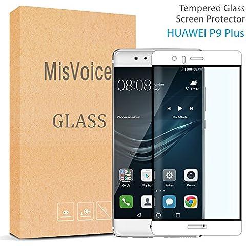 Huawei P9Protector de pantalla 2.5d Round Edge, misvoice Premium resistente a los arañazos de cristal templado 0,26mm de grosor dureza 9H anti huellas dactilares fácil instalación Bubble-free a prueba de roturas–Garantía de reemplazo de por vida blanco blanco Huawei P9 PLUS