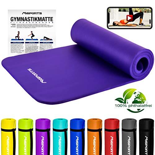 MSPORTS Gymnastikmatte Premium inkl. Tragegurt + Übungsposter + Workout App GRATIS I Fitnessmatte Violett - 190 x 60 x 1,5 cm Hautfreundliche Phthalatfreie Yogamatte