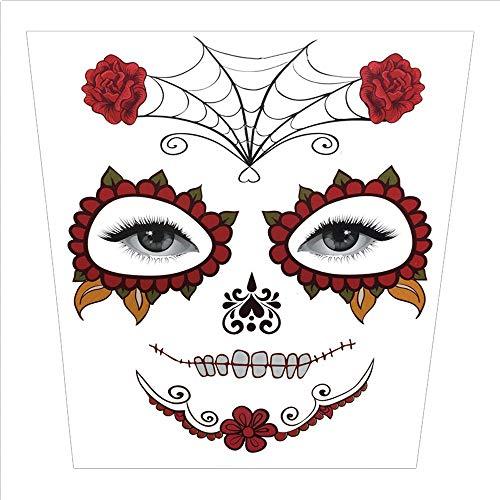 Wawer Halloween Tattoo Aufkleber temporäre Gesicht Kunst Wasserdichte Maske Sugar Schädel Tattoo Beauty Aufkleber (A)