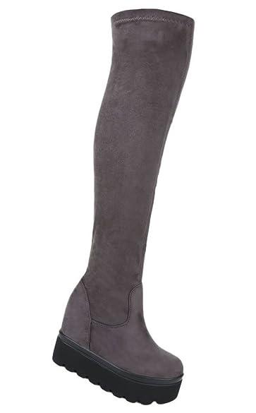 Damen Overknee Stiefel Schuhe Keilabsatz Wedges 36 37 38 39 40 41