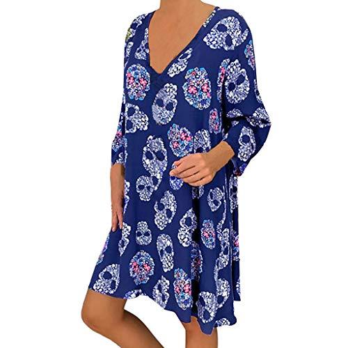 RYTEJFES Damen Kleider Große Größen Herbst Lose Casual Leinenkleider Retro Print Freizeitkleider Sexy V-Ausschnitt Strandkleider Herbstkleider