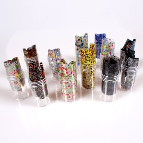 Five Season 12PCS Mix Designs Nail Art Transfer Foil Roll Set Craft Sticker Tips Toe Decoration Without Adhesive by Five Season