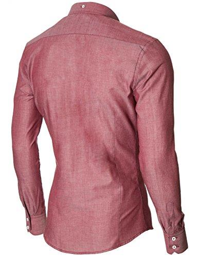 MODERNO Hemd Herren Slim Fit Businesshemd Langarmhemd (MOD1459LS) Rot