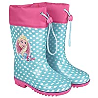 PERLETTI Disney Frozen Rain Boots Kids - Girls Waterproof Wellies Shoes with Anti Slip Outsole - Light Blue and Fuchsia Details with Elsa and Kingdom of Ice Print