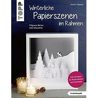 Winterliche Papierszenen im Rahmen