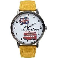 Watch - SODIAL(R)Vogue Union Jack Pattern Orologio Ragazza Ecopelle Da polso al quarzo Xmas Gift Giallo