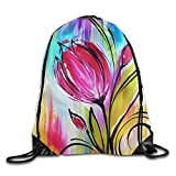 gthytjhv Sport Sporttasche, Turnbeutel mit Kordelzug, Runner Daypack, Drawstring Bag Sugar Skull Backpack Draw Cord Bag Sackpack Shoulder Bags Gym Bag Gym Men Women Tulip Lightweight Unique 16.9x14.2