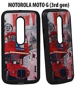 JKOBI(TM) 3D Rubberised Back Case Cover For MOTOROLA MOTO G(3RD GENERATION) MOTO G3-Red Traveller