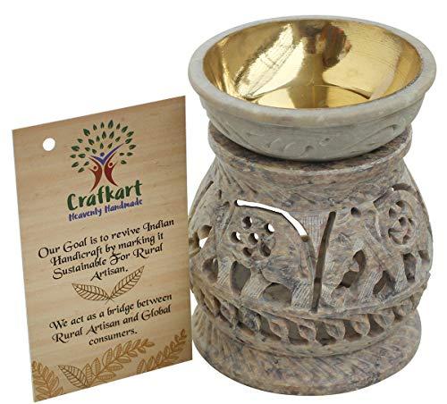 Crafkart Teelichthalter aus natürlichem handgeschnitztem Stein, Aromatherapie, ätherisches Öl-Wärmer Kerzenhalter, Ofendiffusor, Heimdekoration, für Spa, Yoga, Meditation -