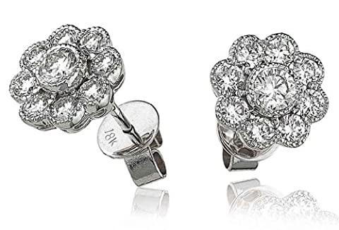 1.10CT Certified G/VS2 Round Brilliant Cut Centre Flower Shape Diamond Stud Earrings in 18K White Gold