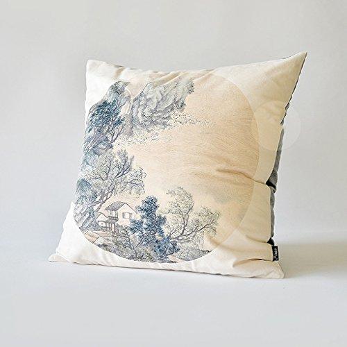 uus China Ink Painting Cushion Montagna E pittura Acqua Paesaggio cinese design cuscino del divano comodino cuscino sfoderabile ( colore : B , dimensioni : Cushion cover-55*55cm ) - Design Inchiostro Cinese