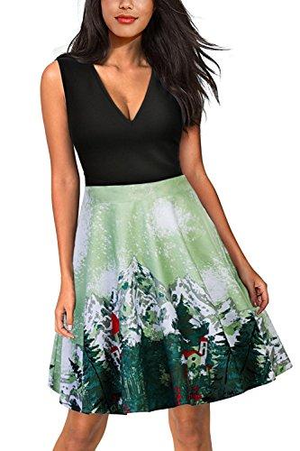 Damen 50er Jahre Kleid Swing Cocktailkleider Pin Up knielang XL (Plus Size 80er Jahre Kostüme)