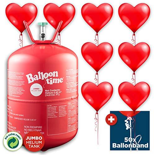 PartyMarty Helium & Ballons Happy Wedding - Ballongas Helium Jumbo Flasche + 50 rote Herz-Ballons + 50x Ballonband mit Quick-&-Easy-Verschluss - für Hochzeit, Liebe & Valentinstag
