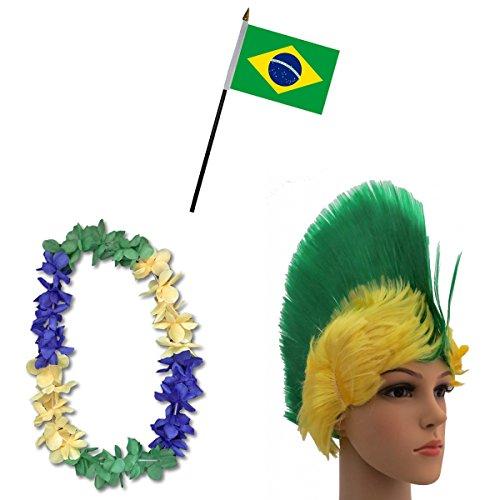 -Paket-4 WM Fußball Irokese Perücke Hawaiikette Flagge Party Farbe Brasilien ()