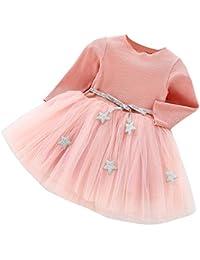 Vestido Elegante Bebes de Punto Manga Largas para Niñas con Costura de Malla Falda Infantil Vestidos de…