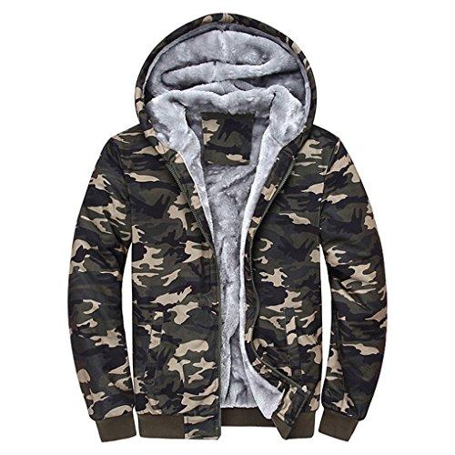 Warme Jacke für Herren Herren Camouflage Wintermantel plus Samt Sportjacke JYJM Herren Camouflage Hoodie Winter warme Fleece Zipper Sweater Jacke Outwear Mantel (XL, Mehrfarbig)