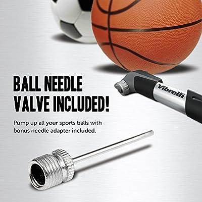 Mini Bike Pump & Glueless Puncture Repair Kit - Fits Presta & Schrader - 120 PSI - No Valve Changing Needed by Vibrelli