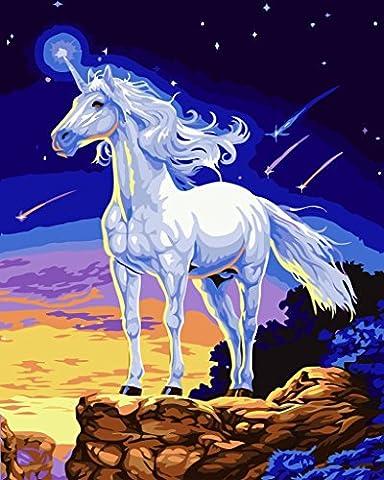 YEESAM ART Neuerscheinungen Malen nach Zahlen für Erwachsene Kinder - Weiß Pferd Pegasus Ideen 16 * 20 Zoll Leinen Segeltuch - DIY ölgemälde ölfarben Weihnachten Geschenke