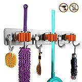 Acciaio Broom mop Holder, autoadesivi mop clip grip per armadio, rastrelli, giardino, garage Storage scopa gancio( 3 Positions 4 Holders )