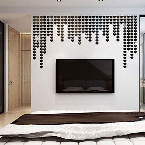 PowerBH Acrílico Autoadhesivo Adhesivos de pared Mosaico en forma de corazón 3d Estéreo Espejo Adhesivos...