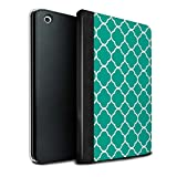 Stuff4® PU-Leder Hülle/Case/Brieftasche für Apple iPad Mini 1/2/3 Tablet/Quatrefoil/Klee Muster/Teal Mode Kollektion