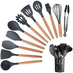 HENSHOW Kit Ustensiles de Cuisine, 12Pièces Ustensiles de Cuisine Ensembles Silicone Comprend Porte-Ustensile - Outil de Cuisine Antiadhésif pour Cuisine avec Poignée en Bois (Couleur Noir)