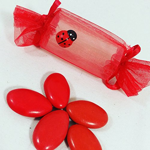 Sindy bomboniere portaconfetti scatoline laurea a forma di caramella con cestino fai da te - cestino + 24 caramelle + confetti crispo ciocopassion rossi apr