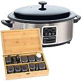 Kit complet pierres chaudes n°5: Paquet avec appareil chauffant 6 litres + 40 pierres dans une boîte en bois