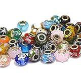 Aofocy 50pcs Argent Perles de Murano en Verre de Murano pour s 'Adaptateur aux Bracelets de Charme Style Pandora