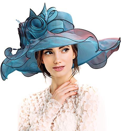 Hut damen sommer, organza damen hut sommerhut für strandhut, Kirche, Party & Hochzeit, Elegant sonnenhut grau fascinator, faltbar hüte damen von Dafunna