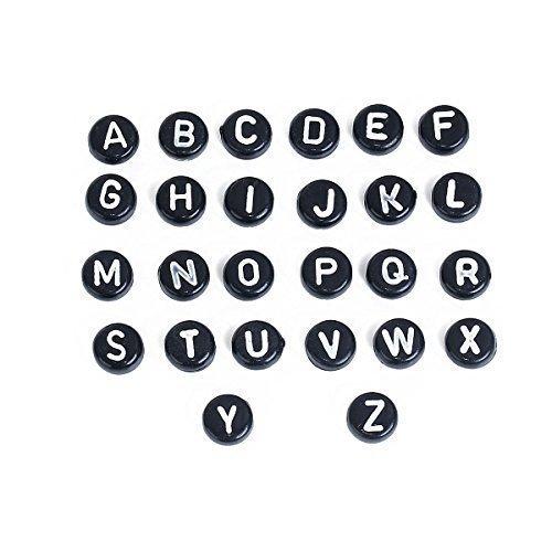 SiAura Material 260 Stück Acrylperlen 7mm mit 1,3mm Loch, Flach Rund, Buchstaben Schwarz Zum Basteln und Auffädeln