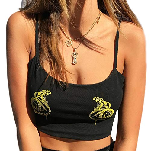 MakefortuneMode Sexy Crop Tops Weste Leibchen Baumwolle Ärmellos Weg Von Der Schulter Drachen Schlange Druck Boho Bluse T-Shirt für Frauen Damen