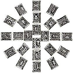 McRee 24pcs nórdico Viking runas pelo barba cuentas envejecido pulsera de DIY Joyas Colgantes escandinavo, Aleación, plata