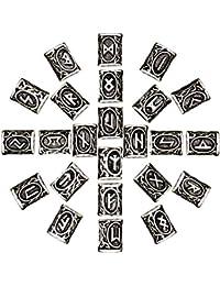 Mcree - Abalorio de Plata con diseño de runas vikingas Antiguas de Estilo nórdico para Pulsera, Collar, Barba, rastas, etc. (24 Unidades), Color Plateado