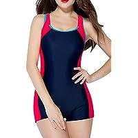 CharmLeaks Women Boyleg One Piece Swimsuit Sport Swimming Costume Modest Swimwear
