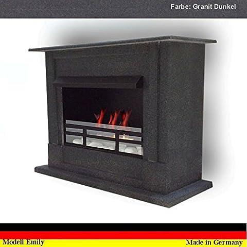 Bio Ethanol Cheminee Modell Emily Deluxe Royal Granit Noir réglable en acier inoxydable brûleur + verre de