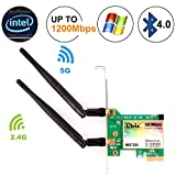 Ubit Bluetooth WiFi Card AC 1200Mbps, carte réseau PCI Express réseau sans fil WiFi PCIe double bande 5 GHz / 2,4 GHz avec Bluetooth 4.0 et 2 antennes pour jeux de bureau / PC (WIE7265)