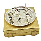Deva Metals Handmade Silver 7 Pices Royal Pooja Thali Set Special Standerd Red box Packing is Used For Birthday Gift, Diwali Gift,Wedding Anniversary